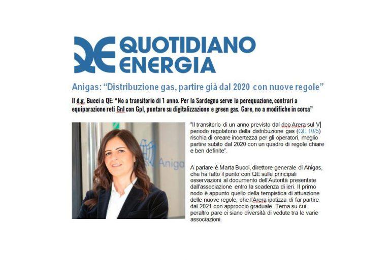 """Anigas: """"Distribuzione gas, partire già dal 2020 con nuove regole"""""""