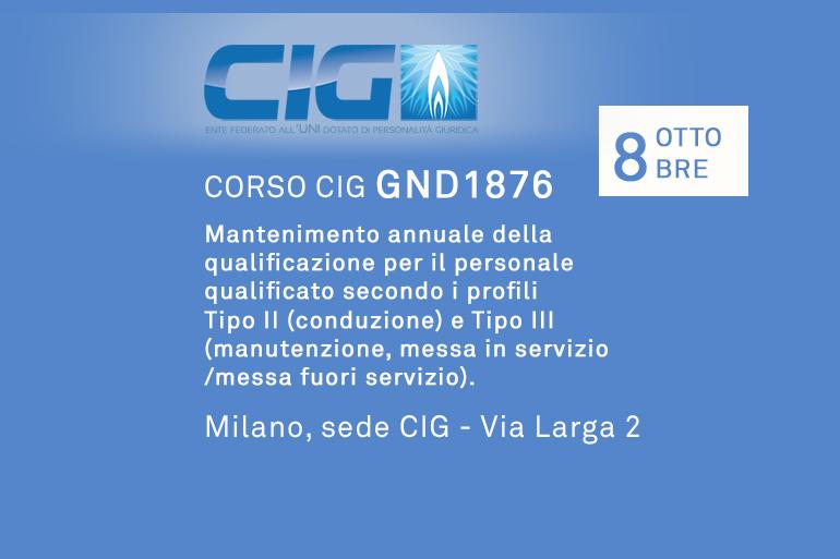 """Corso CIG GND1876 """"Mantenimento annuale della qualificazione per il personale qualificato secondo i profili Tipo II (conduzione) e Tipo III (manutenzione, messa in servizio/messa fuori servizio)"""""""