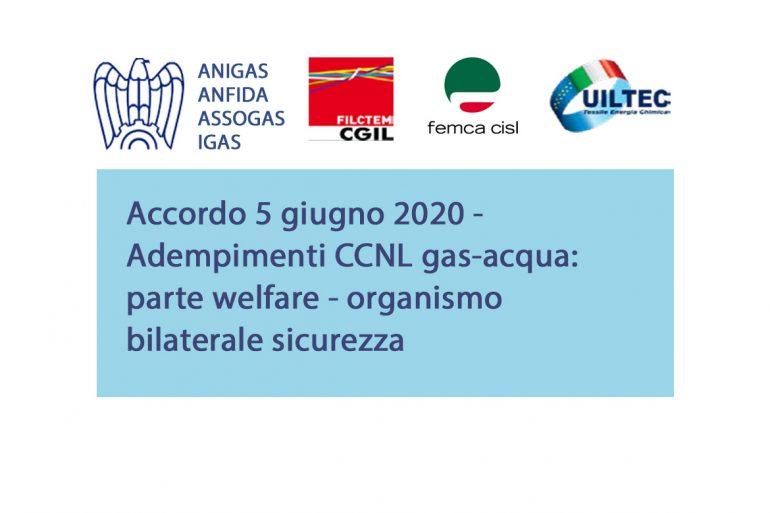Adempimenti CCNL gas-acqua: accordo 5.06.20 su welfare e organismo bilaterale sicurezza