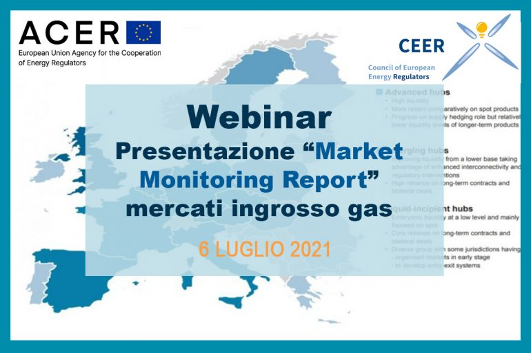 "ACER/CEER – Webinar presentazione ""Market Monitoring Report"" mercati ingrosso gas"